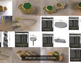 3D Hexagon gem and circles