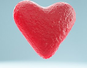 3D asset Heart Red White