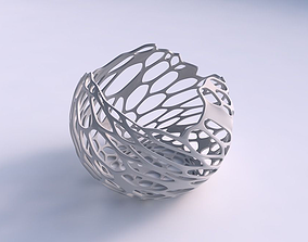 Bowl spheric wavy with cracked and 3D printable model 2