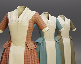 3D asset VR / AR ready Traditional Colonial Dresses Set