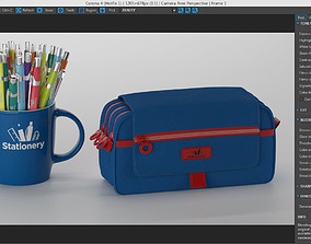Stationery Mug With PencilCase 3D