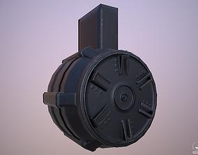 3D asset Round Drum Magazine - Weapon Attachment - PBR - 1