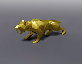 Low Poly Saber Tooth Tiger 3D printable model