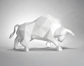poly 3D print model Low Poly Bull Sculpture
