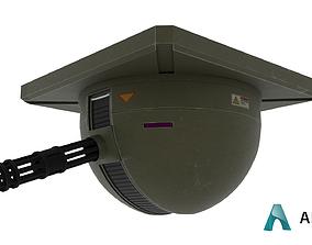 3D asset low-poly Ceiling Turret