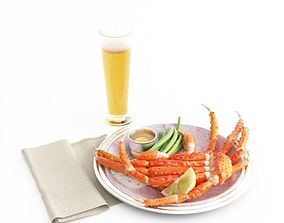 Dinner Food Set Seafood Beer 3D