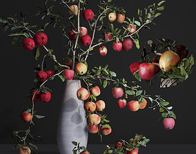3D Red Cherry tomato apple branches Dry leaves Vase