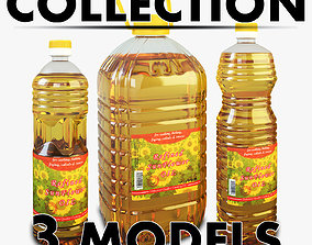 quality Oil Bottle Collection 3D model