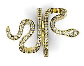 Snake gold ring stl printable model Nature diamond 1