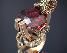 3D print model Cobra ring with ruby gemstone