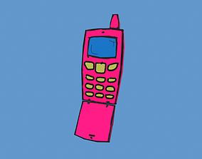 Cartoon Cell Phone 3D asset