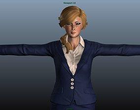 3D model Female Airhostess - Animated