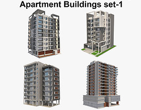 3D model Apartment Buildings Set 1