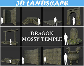 Low poly Mossy Ancient Dragon Temple Pack 02 190909 3D
