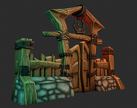 3D asset woodgate cartoon