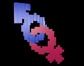 Symbols of gender voxel 3 3D model