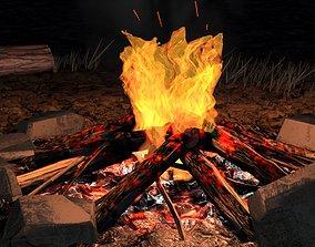 3D model Bonfire animated