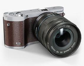 3D asset Samsung NX300 Brown mirrorless digital camera 3