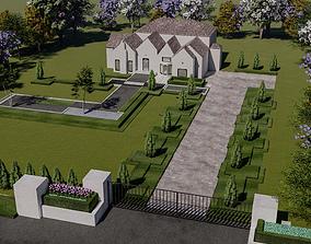 LANDSCAPE FRONT LAWN DESIGN OF LUXURY HOUSE 3D model