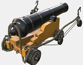 Low Poly PBR Game Ready Ship Cannon 3D asset game-ready