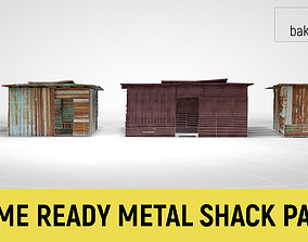 3D model Corrugated Steel Shed - Rusty Metal Shack Pack