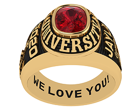 Personalized Class Ring 4 - Cushion Gem for 3D print model