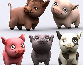 animated low-poly 3DRT - Chibii Pig