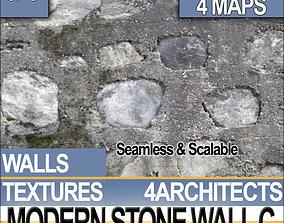 3D model Modern Stone Wall C