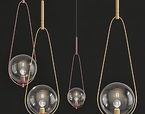 3D model Pendant Lamp Loop Brass Glass
