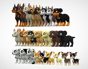 Puppies Pack 3D model game-ready