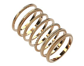 3D model A Package 42pise Classic Minimalism 7 Ring Boho 3