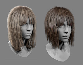 3D asset low-poly Realtime Medium Length Hairstyle