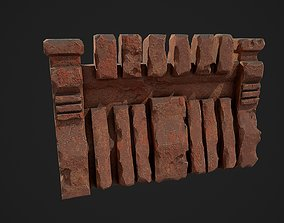 3D asset Fantasy red rocky wall pattern