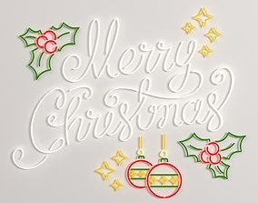 Merry Christmas led typo decoration 3D asset game-ready