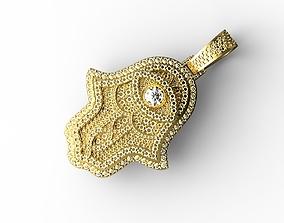 Hamsa hand Pendant Full Stones 3D print model