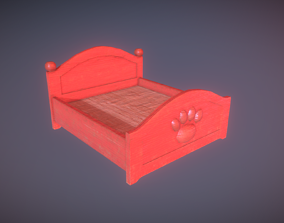 3D model Red Cute Paw Bed Low Poly Game Ready