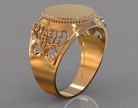 3D printable model monogram ring rings