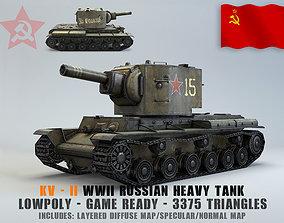 soviet 3D model Low Poly KV-2 heavy artillery tank