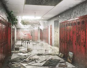 School Corridor Abandoned 3D model