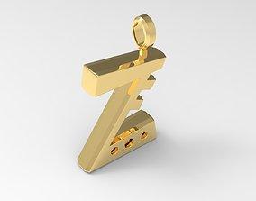 3D printable model Z Letter Pendant Gold
