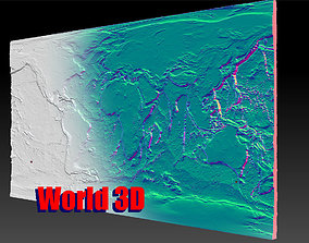 World Topology Map 5 versions 3D printable model