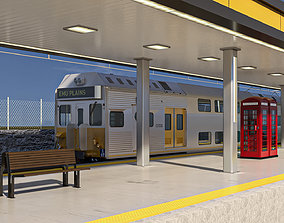 Train and Train station high detailed 3d model scene