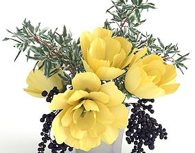 Bouquet with yellow tulips 3D