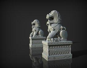 China lions statue 3D print model