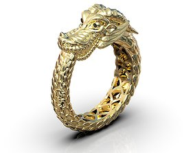 Ouroboros ring dragon biting its own 3D printable model