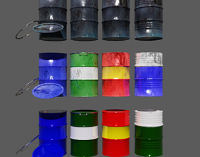 3D asset Oil Barrels 200 liter pack of 12 barrels