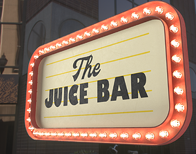 3D Retro sign THE JUICE BAR