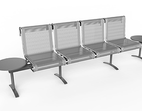 3D model Waiting Room Chair 4 Seats with 2 side