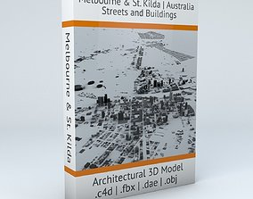 3D model Melbourne Downtown and St Kilda Streets and