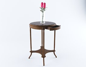 3D model classic coffee table with drawer and flower